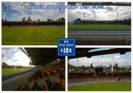 AK Linzer Stadion Postkarte FC Blau-Weiß Linz SK VÖEST Gugl Stahl BW Fußball 4 Ansichten Österreich Football Stadium SKV - Fussball