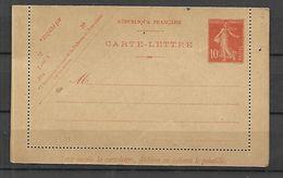 Carte Lettre  Entier Postal 10 C Semeuse Fond Plein - Postal Stamped Stationery