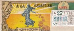 BILLET DE LOTERIE     A LA SEMEUSE..1974 - Lottery Tickets