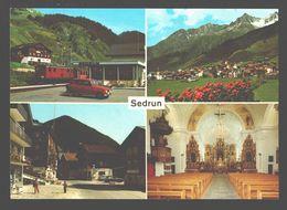 Sedrun - Carte Multivues Bahnhof, Dorfpartie, .. - Classic Car Renault R4 - Train / Zug - GR Grisons