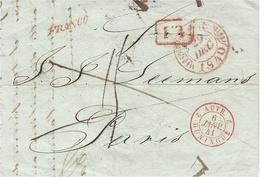"""1840- Lettre De TRIESTE  En P.P. Pour Paris - """" FRANCO """"  + L I Encadré -entrée AUTR. 2 HUNINGUE 2 Rouge - Storia Postale"""