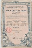 Exposition Universelle 1889 5 Bons à Lot De 25 Francs - Tourisme