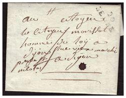 MP 20 SEURE Sur Lettre Pour DIJON Taxe 4 - Poststempel (Briefe)