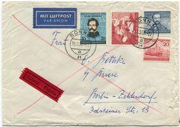 Bund Michel 155, 154, 150, 152 Auf Eilbrief Aus Bonn (554) - Briefe U. Dokumente