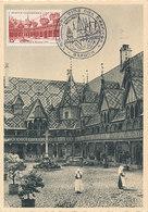 D32959 CARTE MAXIMUM CARD TRIPLE 1953 FRANCE - HOTEL-DIEU DE BEAUNE CP ORIGINAL - Abbayes & Monastères