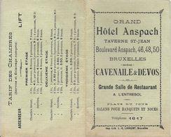 PLAN TRAMWAYS BRUXELLES CONTENU DANS DEPLIANT PUBLICITAIRE HOTEL ANSPACH BRUXELLES - Europe