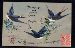 JOLIE CPA FANTAISIE CELLULOID CELLULOIDE Peinte à La Main Oiseau Hirondelle Bonheur Aux Jeunes Epoux Mariage -# 620 - Fantaisies