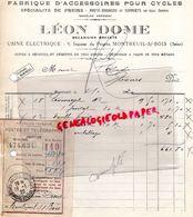 93- MONTREUIL SOUS BOIS- RARE FACTURE LEON DOME-MECANICIEN-FABRIQUE ACCESOIRES CYCLES-VELO-1920 - Transport