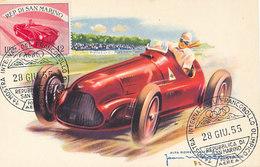 D32980 CARTE MAXIMUM CARD RR 1955 SAN MARINO - RACING CAR CP VINTAGE ORIGINAL - Cars