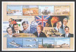 L116 ST.VINCENT MILLENIUM 2000 THE WORLD AT WAR 1KB MNH - History