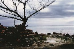 712Ma  Tahiti Grande Photo Originale (27cm X 17cm) Stockage De Fûts En Bords De Mer Déchets ? Toxiques ? - Tahiti