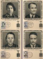 Maxim2-CARTES PJ DES HEROS DE LA RESISTANCE N° 1057 à 1060 DE 1958 - Cartes-Maximum