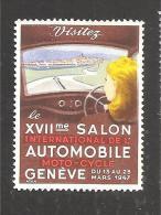 1947 Salon De L'auto De Geneve Vignette Poster Stamp - Suisse