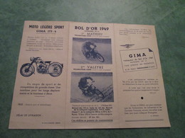 Vélomoteurs - Motos GIMA - 24, Avenue Pasteur à CHAMALIERES (dépliant 3 Volets) - Motos