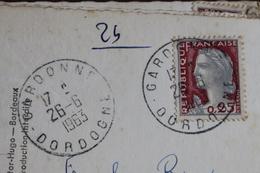 1963   CARDONNE     (    DORDOGNE  )   CACHET  MANUEL  ROND         SUR  CARTE  POSTALE - Manual Postmarks
