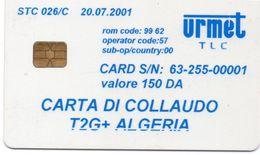 ALGERIA - URMET - TEST CARD - CARTA DI COLLAUDO - S/N 00001 FIRST PRINTED! - VERY RARE - Algeria