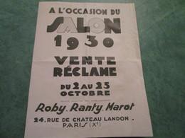 ROBY-RANTY-MAROT  . Accessoires Textiles  .   Vente-réclame à L'occasion Du Salon 1930 - Motos