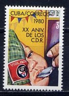 CUBA 1980 2504 20th Anniversary Of The Defensive Committees Of The Revolution - Militaria