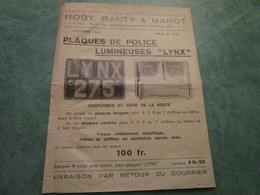 "ROBY, RANTY & MAROT . Plaques De Police Lumineuses ""LYNX"" - Motos"