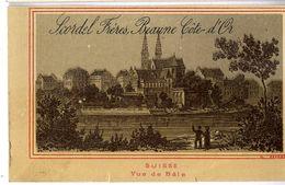 SUISSE VUE DE BALE  MAISON SCORDEL PECOT  BEAUNES  FABRIQUE DE CHAUSSURES CHEMISES GANTERIE  CHROMO VERS 1883 - Autres