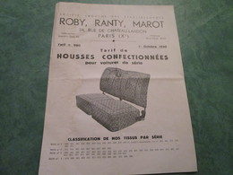 ROBY, RANTY & MAROT . Housses Confectionnées Pour Voitures De Série - Motos