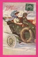 CPA  (Réf Z865) Illustrateur W. BRAUN Couple Dans Vieille Voiture Bonne Année, Beau Chapeau - Braun, W.