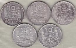 5 Pièces De 10 Francs Turin 1930, 1932 , 1933 (2), 1934 En Argent. - France