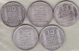 5 Pièces De 10 Francs Turin 1930, 1932 , 1933 (2), 1934 En Argent. - K. 10 Francs