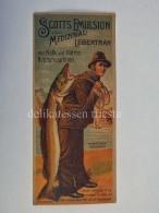 SCOTTS EMULSION Medizinal Lebertran Wien Vitamine Norway Salmon Fisherman Label Etichetta - Pubblicitari