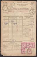 France - N° 56 Multiple Et 58 Sur Bordereau Des Valeurs à Recouvrer Oblitéré Saint Magne 1933 - Taxes