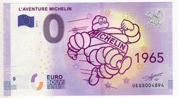 2018-4 BILLET TOURISTIQUE 0 EURO SOUVENIR N°UEGS004894 L'AVENTURE MICHELIN 1965 - EURO