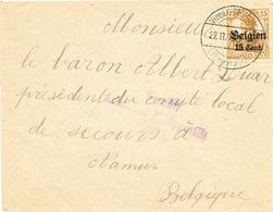 190/26 - ARDENNES FRANCAISES - Enveloppe TP Germania VIREUX MOLHAIN 1916 -  Censure De PHILIPPEVILLE - WW I