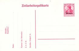 191/26 - Entier Occupation Allemande Zivilarbeiterpostkarte No 2 - ETAT NEUF - German Occupation