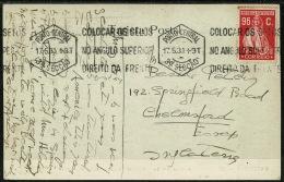 RB 1198 -  1930 Postcard - Portugal 96c Ceres Single Franking To UK - Good Slogan Postmark - 1910-... Republic