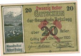 Österreich Austria Notgeld 20 HELLER FS104c BRIXLEGG /177M/ - Austria