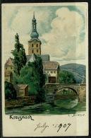 RB 1198 -  1907 Postcard - Bad Kreuznach Germany - Church Bridge & River - Bad Kreuznach