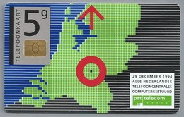 NL.- Telefoonkaart. PTT Telecom. 5 Gulden. 29 December 1994. Alle Telefooncentrales Computergestuurd. - Telecom