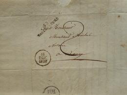 1828, CACHET A DATE SUR LETTRE 1828, VAUCOULEURS VERS NANCY, LORRAINE - 1801-1848: Précurseurs XIX