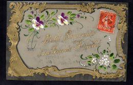 CPA FANTAISIE CELLULOID CELLULOIDE DOREE OR Art Nouveau Art Déco Peinte à La Main Souvenir Amitié -# 625 - Fantaisies