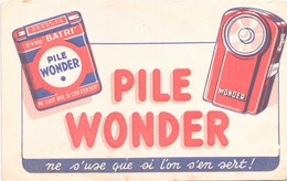 "Buvard  "" Piles Wonder "" ( Pliures, Rousseurs ) 21 X 13.5 Cm - Accumulators"