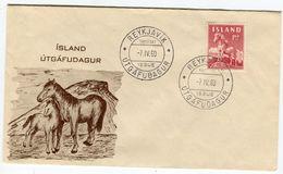 Iceland/Islande/Ijsland/Island FDC 7.IV.1960 Horse Matching Cover - FDC