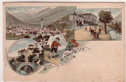 MERAN-MERANO-BOZEN-BOLZANO-GRUSS-AUS MERAN-LITHO MULTIVEDUTE-ANNO 1897-1900 - Bolzano (Bozen)