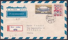 1966 Cecoslovacchia Czechoslovakia PICCIONGRAMMA Aerogramma 80+160h Trasportato Da Piccioni Viaggiatori Brno PIGEONGRAM - Postal Stationery