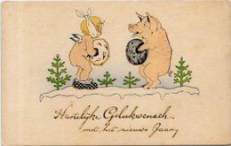 CPA Cochon Fantaisie Pig Position Humaine Gaufré Embossed écrite - Cochons