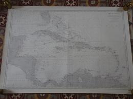 Carte Marine Papier De La Mer Des Antilles, SHOM N°5453, Edition N°6 De 1952, Cuba, Haïti, Jamaïque, Saint Domingue, TBE - Cartes Marines
