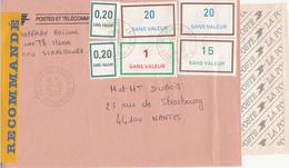 Env Reco Affr Fictifs CRF DES POSTES De STRASBOURG Du 22.10.1993 Adressée à Nantes - Phantomausgaben