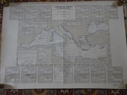 Carte Marine Papier Courants De Surface En Méditerranée Dans Leur Relation Avec La Météorologie, 1956, Référence SH141 - Nautical Charts