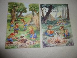 2 BELLES ILLUSTRATIONS...SCOUTISME...REPAS ET LECTURE DU SOIR - Scoutisme