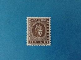 ITALIA REPUBBLICA MARCA DA BOLLO DA 400 LIRE USATA FILIGRANA STELLE - 6. 1946-.. Repubblica
