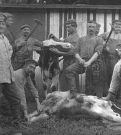 Soldatenleben Schlachten Fleischerei Boucherie Butchery - Soldaten Allemande Carte Photo-guerre 14 -18 - Guerre 1914-18